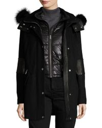 Andrew Marc - Marci Fur Trimmed Wool Parka - Lyst