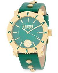 Versus - Round Stainless Steel Leather Strap Watch - Lyst