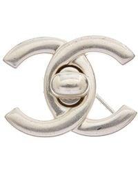 Chanel Silver-tone Medium Cc Turnlock Pin