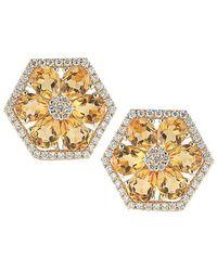 Dana Rebecca - Designs Jennifer Yamina 14k 3.85 Ct. Tw. Diamond & Citrine Earrings - Lyst