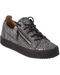 ce51af520d684 Giuseppe Zanotti - Glitter Leather Low-top Trainer - Lyst