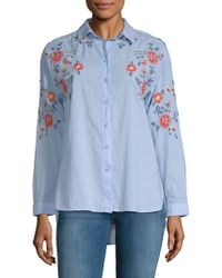Beach Lunch Lounge - Lucianna Embroidered Cotton Button-down Shirt - Lyst