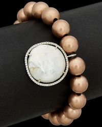 Meira T - Silver Plated 23.97 Ct. Tw. Diamond & Mother-of-pearl Stretch Bracelet - Lyst