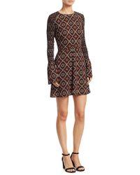 A.L.C. - Alexa Printed Bell Sleeve Silk Dress - Lyst