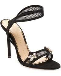 Charlotte Olympia - Fishnet Ankle-strap Sandal - Lyst