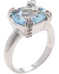 Anzie - Sterling Silver, Sky Blue Topaz & White Sapphire Classique Ring - Lyst