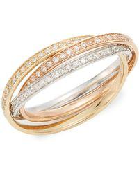Effy | Diamond & 14k White, Yellow & Rose Gold Ring | Lyst