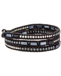 Chan Luu Silver Hematite & Crystal Wrap Bracelet