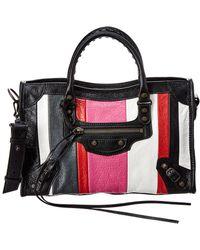 Balenciaga - Classic City Aj Striped Small Leather Shoulder Bag - Lyst