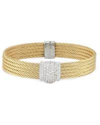 Alor - Classique 18k & Stainless Steel 0.10 Ct. Tw. Diamond & Sapphire Cable Bracelet - Lyst