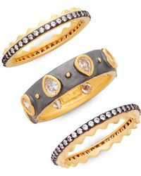 Freida Rothman - Bezel Three Stack Ring Set - Lyst