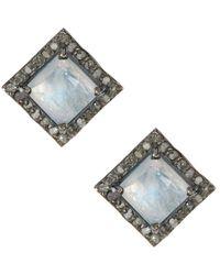 Adornia - Fine Jewellery Silver 4.30 Ct. Tw. Diamond Moonstone Studs - Lyst