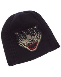 a210526ee83 Gucci Knit Wool Hat in Black for Men - Lyst