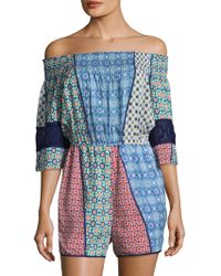 Plenty by Tracy Reese - Off The Shoulder Graphic Romper - Lyst