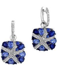 Effy - Natural Ceylon Sapphire, Diamond & 14k White Gold Drop Earrings - Lyst