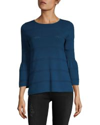 August Silk - Pointelle Bell-sleeve Top - Lyst