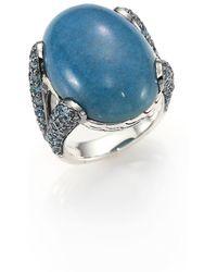 John Hardy - Classic Chain Blue Quartz, Swiss Blue Topaz & Sterling Silver Ring - Lyst