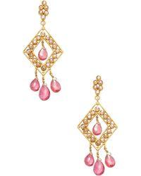 Amrapali - Diamond, Emerald, Tourmaline And 18k Gold Drop Earrings - Lyst
