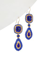 Miguel Ases 14k Filled Lapis Drop Earrings - Blue