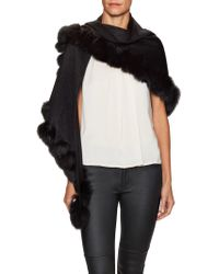 Sofia Cashmere - Whipstitch Fur Trim Diamond Shawl - Lyst