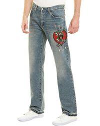 Gucci - Embroidered Straight Leg Denim Jean - Lyst