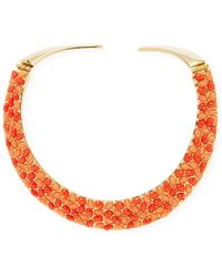 Kenneth Jay Lane - Two-toned Coral Cabochon Bib Necklace - Lyst