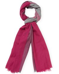 "Badgley Mischka - Lightweight Colorblock Merino Wool Long Scarf, 82"" X 32"" - Lyst"