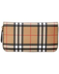 Burberry - Elmore Vintage Check Leather Ziparound Wallet - Lyst