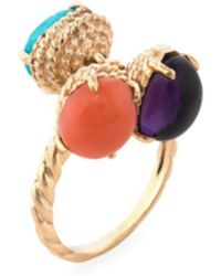 Estate Fine Jewelry - Estate Coral, Amethyst & Tourmaline Charm Cocktail Ring - Lyst