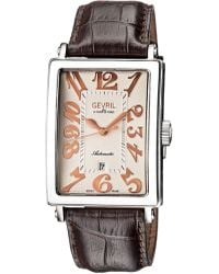 Gevril Watches - Avenue Of Americas Date Silver-tone Dial Watch, 34mm - Lyst