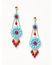 Miguel Ases - Turquoise And Coral Chandelier Earrings - Lyst