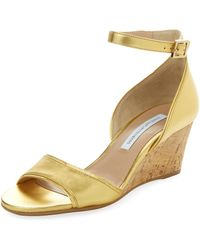 Diane von Furstenberg | Asti Metallic Leather Wedge Sandal | Lyst