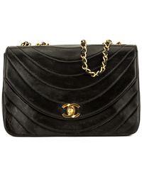 Chanel - Black Lambskin Leather Half Moon Single Flap Bag - Lyst 0c6697b86e