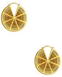 Noir Jewelry - Sao Paulo Lemon Slice Cz Hoop Earrings - Lyst