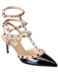 Valentino Rockstud Caged 65 Leather Ankle Strap Pump - Black
