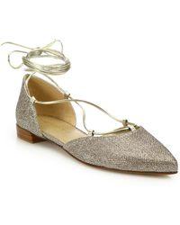 cec0257b806 Lyst - Stuart Weitzman Lastikon - Gold Glitter Ballet Flat in Metallic
