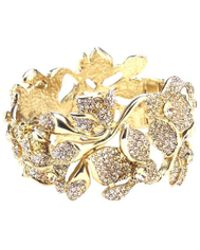 Oscar de la Renta - Gradient Crystal & Gold Flower Bracelet - Lyst