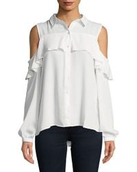 Jordan Alexander - Frilled Cold-shoulder Button-down Shirt - Lyst