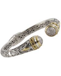 Konstantino - Asteri White Diamond, 18k Yellow Gold And Sterling Silver Cuff Bracelet - Lyst