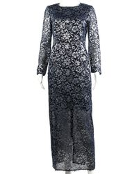 Chanel - Blue Sheer Lace Long Sleeve Dress, Size Fr 38 - Lyst