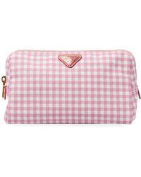 Prada - Gingham Cosmetic Bag - Lyst