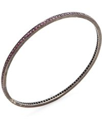 Karma Jewels - Silver & Ruby Bangle Bracelet - Lyst