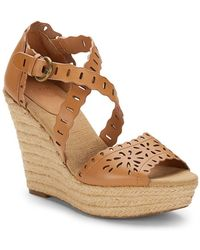 Aerin - Laila Perforated-calfskin Wedge Sandals - Lyst