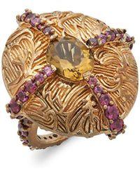 Stephen Dweck - Carved Brass & Gemstone Statement Ring - Lyst