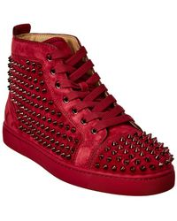Christian Louboutin - Louis Spiked Suede Sneaker - Lyst
