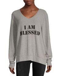 Peace Love World - Graphic Heathered Jumper - Lyst