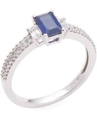 Rina Limor - 14k White Gold Octagon Blue And White Sapphire & Diamond Ring - Lyst