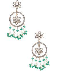 Jyoti New York - 14k Yellow Gold, Silver, Diamond & Emerald Chandelier Earrings - Lyst