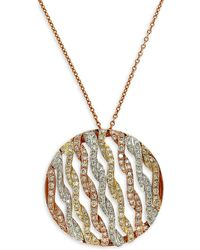 Effy - 14 Kt. Gold Tri Color Diamond Pendant Necklace - Lyst