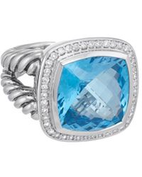 David Yurman - David Yurman Albion Silver 17.35 Ct. Tw. Diamond & Hampton Blue Topaz Ring - Lyst